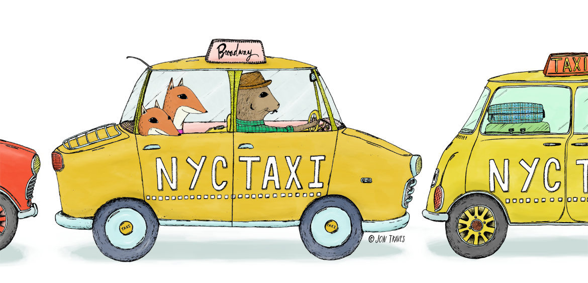Wander New York Book NYC Taxi Spread Illustration by Jon Traves | Illustrator